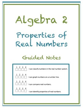 Properties of Real Numbers Guided Notes (Editable)