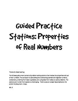 Properties of Real Numbers: Guided Practice Stations