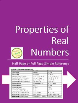 Properties of Real Numbers Handout:  1/2 Page and Full Page Versions