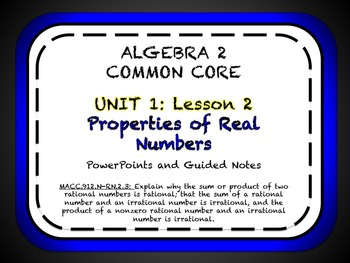 Properties of Real Numbers Lesson for Algebra 2 Common Core