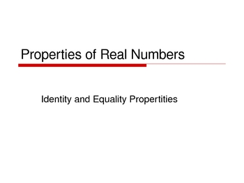 Properties of Real Numbers Notes