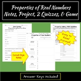 Properties of Real Numbers Notes, Assessments, and Review