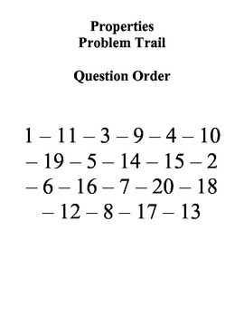 Properties of Real Numbers Problem Trail