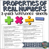 Properties of Real Numbers Quick Reference Sheet