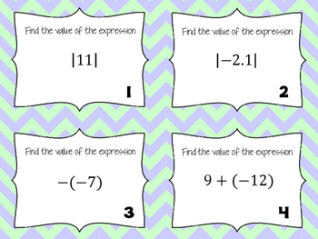 Properties of Real Numbers Task Cards