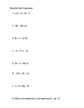 Properties of Real Numbers / Variables and Expressions (7 Math)