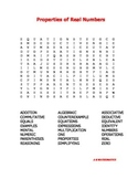 Properties of Real Numbers Word Search