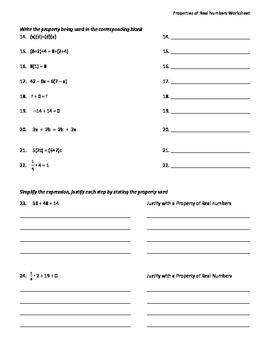 Worksheets Properties Of Real Numbers Worksheet properties of real numbers by math is easy as pi teachers worksheet