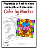 Properties of Real Numbers and Algebraic Expressions Color by Number Activity