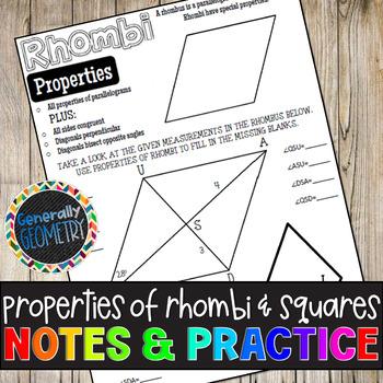 Properties of Rhombi & Squares Doodle Guide & Practice Worksheet; Quadrilaterals
