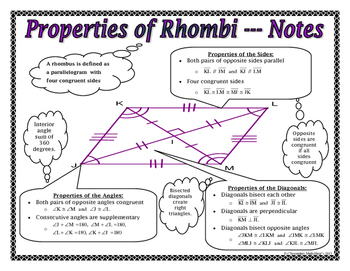 Quadrilaterals - Properties of Rhombi and Squares Notes and Assignment