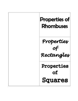 Properties of Rhombus, Rectangle, and Square Foldable