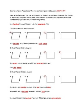 Properties of Rhombuses, Rectangles, and Squares