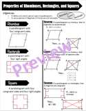 Properties of Rhombuses, Rectangles, and Squares Cheat She