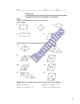 Properties of Rhombuses, Rectangles, and Squares Guided Notes, Ppt, and Homework
