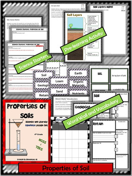 Properties of Soil:Complete Lesson Set Bundle (TEKS & NGSS)