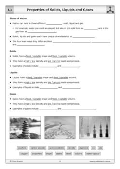 Properties of Solids, Liquids and Gases [Worksheet]