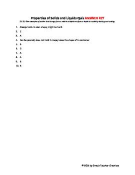 Properties of Solids and Liquids Quiz