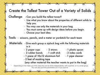 Properties of Solids with STEM Tower Building Challenge