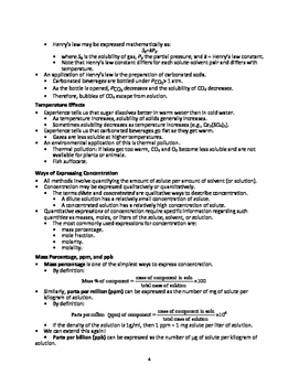 Properties of Solutions - Quick Review Outline and Handout