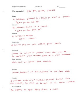 Properties of Solutions Lectures for AP Chemistry