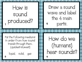 Properties of Sound Task Cards