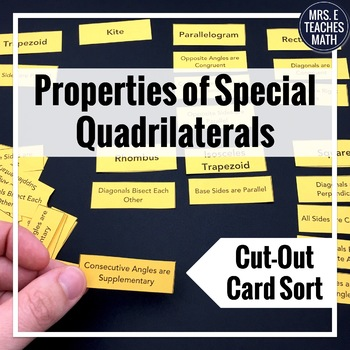 Special Quadrilaterals Properties Cut-Out Activity