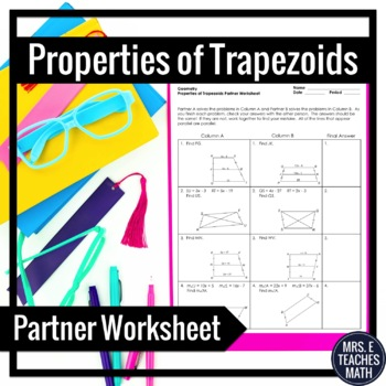 Words With Double Consonants Worksheets Word Trapezoids Partner Worksheet By Mrs E Teaches Math  Tpt 6th Class Maths Worksheets Pdf with Eye Diagram Worksheet Trapezoids Partner Worksheet Number Puzzles Worksheets Word