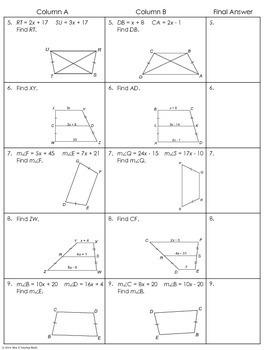 Trapezoids Partner Worksheet By Mrs E Teaches Math Tpt