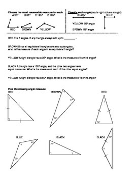 Properties of Triangles: Angle Sum Coloring Page