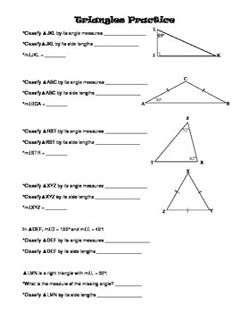 Properties of Triangles: Classifying and Finding Missing Angle Measures