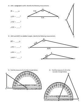 Properties of Triangles Practice (Side Lengths and Angle Measures)