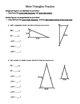 Properties of Triangles Practice (Side Lengths and Angle M