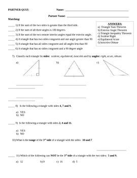 Properties of Triangles QUIZ
