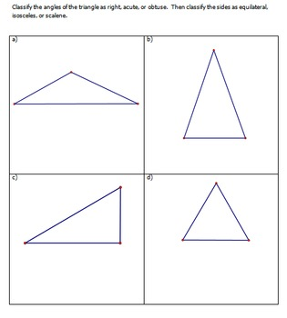 Properties of Triangles Review Choice Board