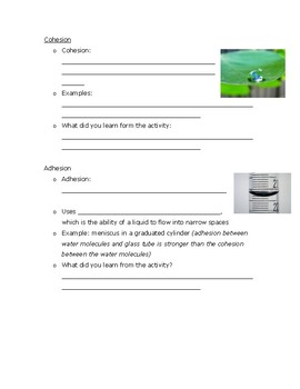 Properties of Water Guided Notes