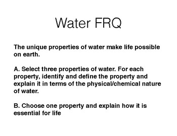 Properties of Water Lecture and Student Outline