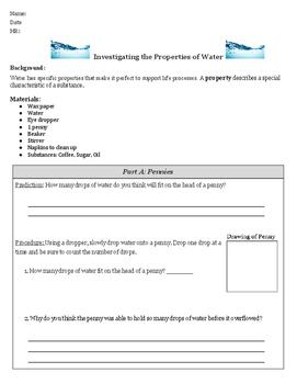 Properties of Water Mini Lab-Middle School Science