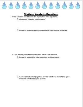Properties of Water Stations Activity - IB-SL HL Biology 2016 curriculum
