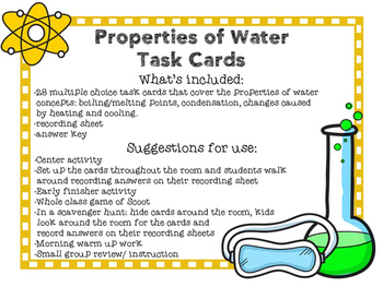 Properties of Water Task Cards