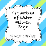 Properties of Water: fill-in interactive notebook page