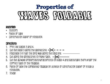 Properties of Waves Foldable