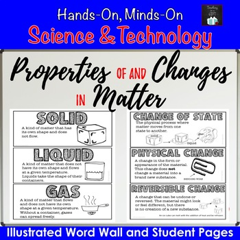Properties of and Changes in Matter Illustrated Word Wall
