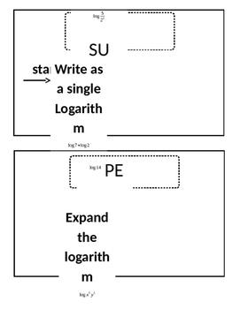 Properties of logarithms scavenger hunt