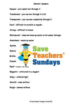 Properties of materials vocabulary / terminology Lesson plan and Worksheet