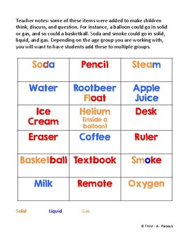 Properties of the States of Matter - Posters and Sort