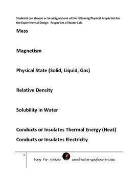 Properties, physical properties, water