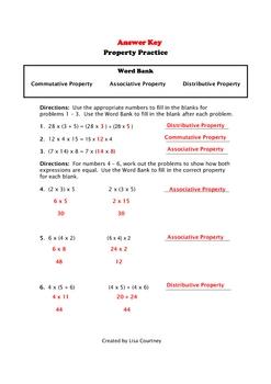 Property Practice - Commutative / Associative / Distributive