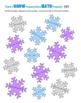 Property Snowflakes - Commutative, Associative, Distributive Property Practice