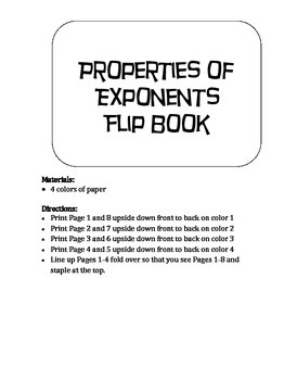 Property of Exponents Flip Book